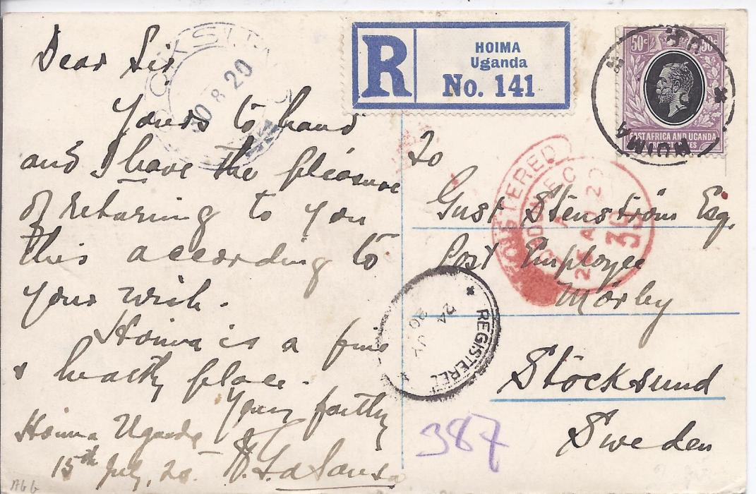 British East Africa 1920 registered photographic postcard to Stocksund, Sweden bearing single franking 50c. tied Hoima cds (of Uganda), unclear local registration date stamp, registration label alongside stamp, hooded London transit and arrival cds top left. Some slight surface abrasions to front, a scarce item.
