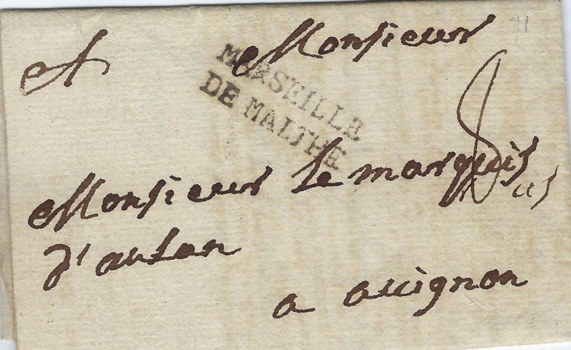 Malta 1771 entire to Avignon, France bearing good strike of MARSEILLE/ DE MALTHE maritime handstamp; a fine early example.