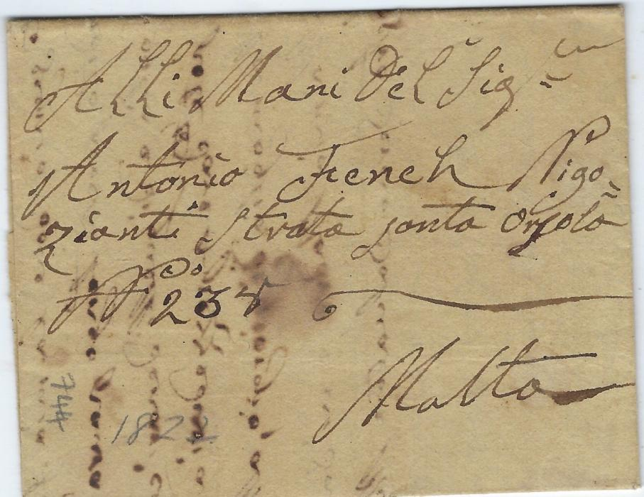 Malta 1822 unpaid incoming disinfected entire from Tunisia  with arrival charge handstamp at right  'O?.29.T.4;10', disinfection seal removed; good early scarce example.
