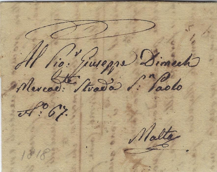 Malta 1818 unpaid incoming disinfected entire from Alexandria, Egypt bearing accountancy 'January 15: T.2.', disinfection wax seal removed. A fine, very early example of this handstamp.