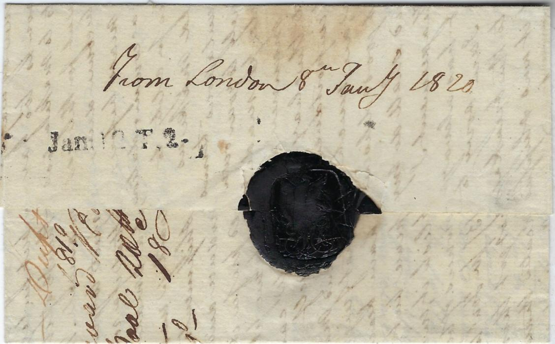 Malta 1820 unpaid entire from London to Corfu, Ionian Islands that has been landed at Malta where fine 'Jan: 12: T.2' handstamp; fine and less usual on transiting mail.