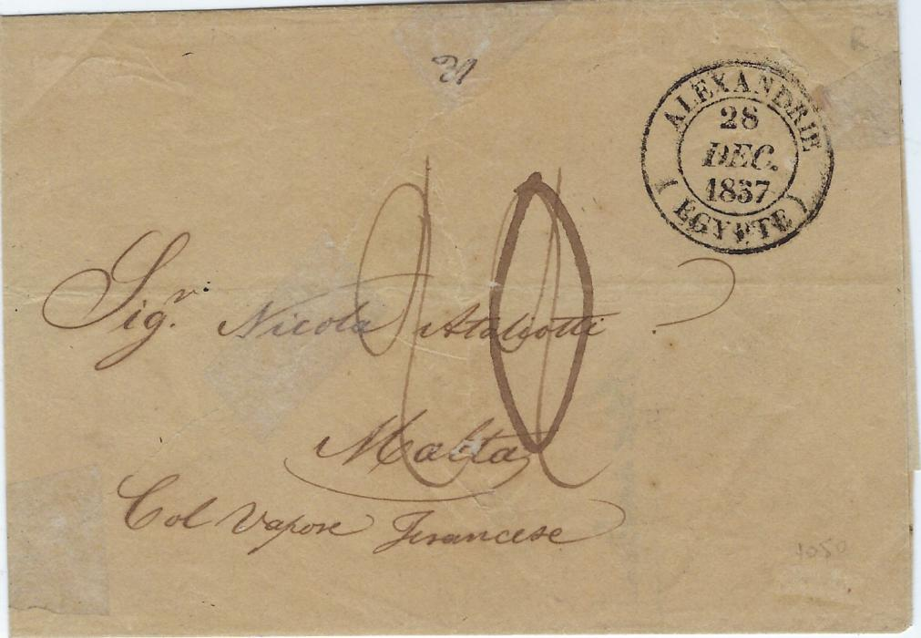 "Malta 1837 entire from Alexandrie, Egypt  bearing double ring cds of French Office on front, reverse with accountancy handstamp 17 January: 4d with the French postage added in manuscript, a charge of ""1/8"" totalling ""2/-"", oval disinfection handstamp at left."