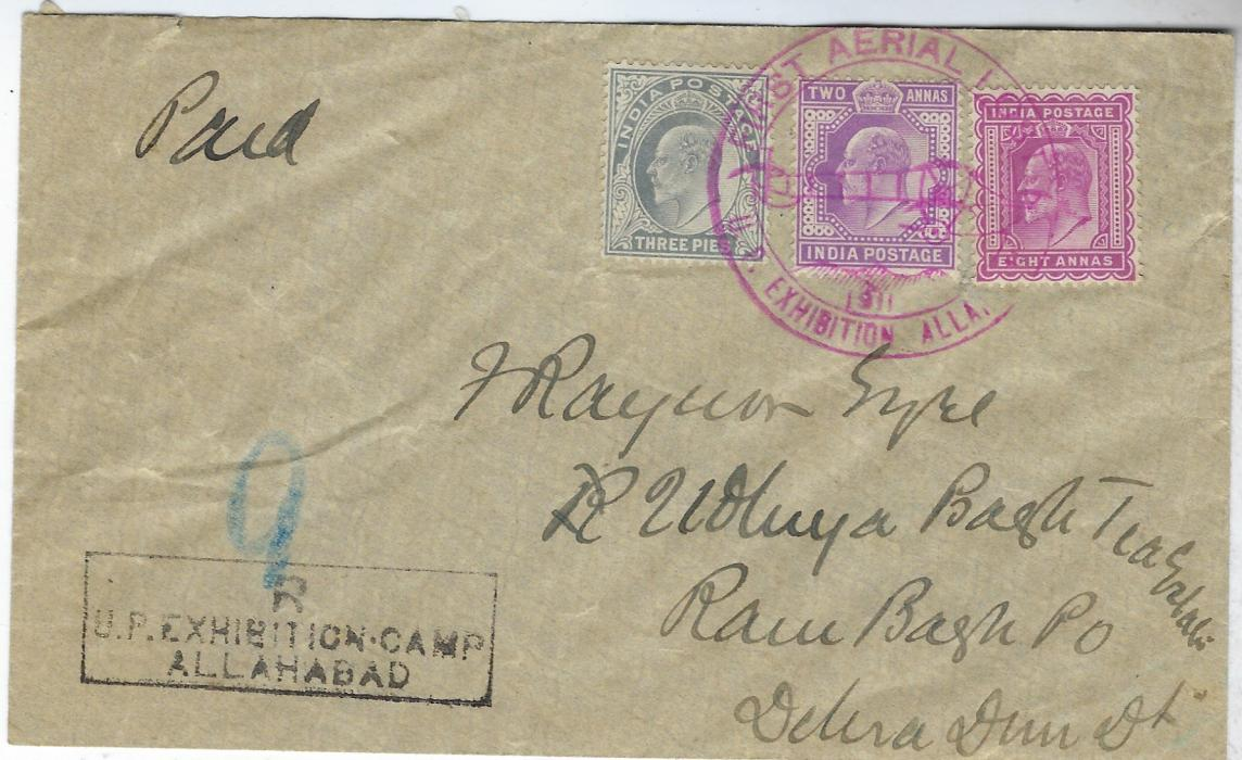 "India (Airmail) 1911 internal registered cover franked 3p., 2a. and 8a. tied by single illustrated FIRST AERIAL POST/ U.P. Exhibition Allahabad cds, fine legible registration handstamp bottom left, manuscript registration number ""9"".  Fine and attractive."