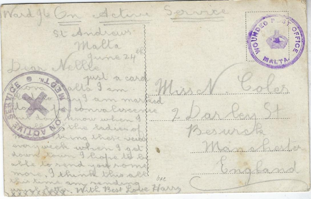 Malta (WWI) 1915 multi-view stampless picture postcard written on June 24th to Manchester bearing 'On Active Service Medtn' handstamp and fine example of the rare violet Wounded Post Office/(crown)/ Malta circular handstamp.