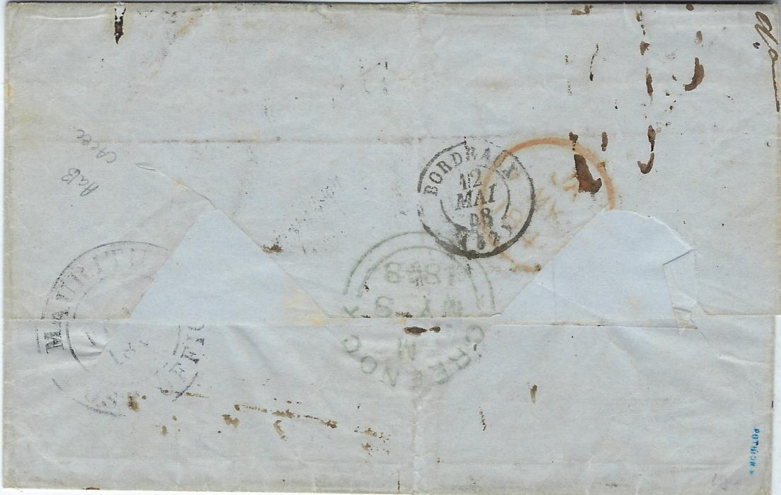 Mauritius 1848 outer letter sheet to Bordeaux, annotated p
