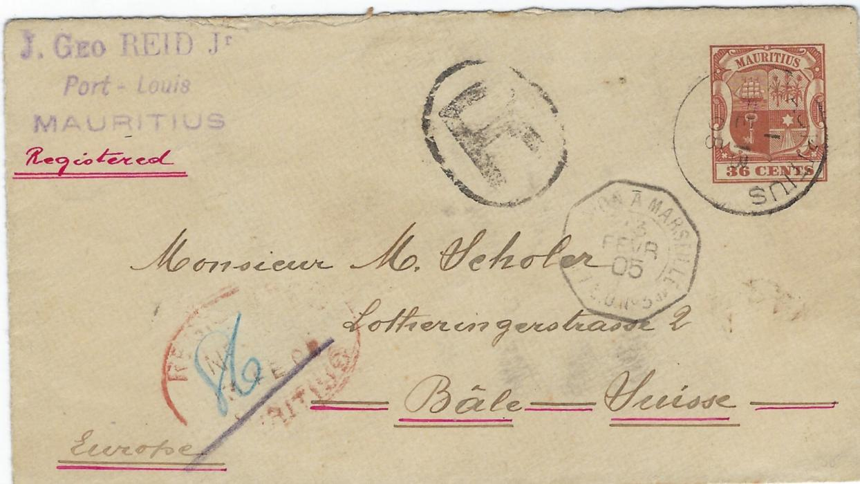 Mauritius (Postal Stationery) 1905 36c. envelope registered to Switzerland with despatch cds,  red oval Registration date stamp with blue manuscript number, French maritime octagonal date stamp, arrival backstamp. Good clean example.