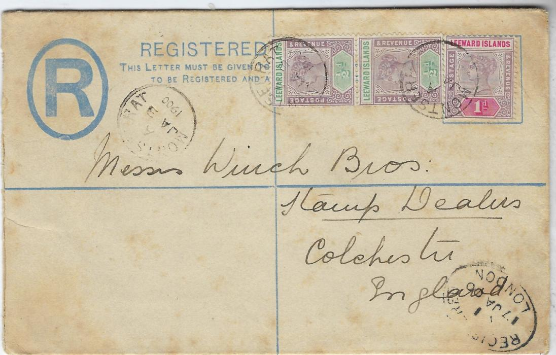 Montserrat (Leeward Islands) 1900 2d stationery registration envelope, size G, additionally franked pair �d. and a 1d. tied cds, Registered London transit and arrival backstamp; some tonings, a scarce commercial usage, albeit to Stamp Dealers.