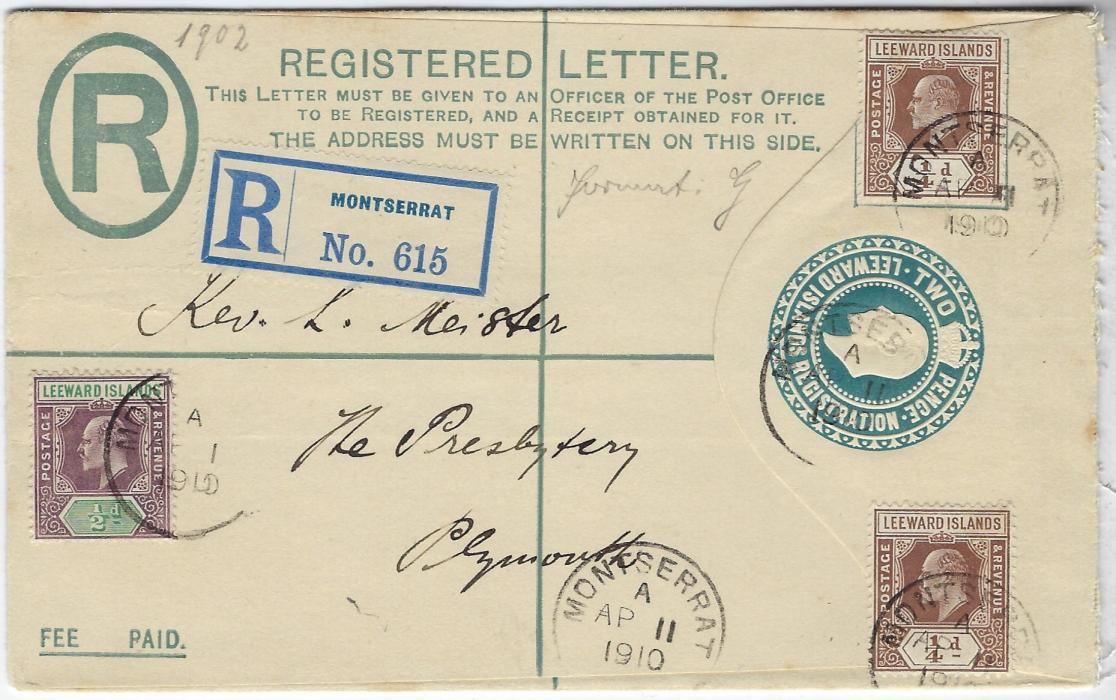 Montserrat (Leeward Islands) 1910 2d registration stationery envelope to Plymouth additionally franked �d. (2) and �d. each tied index A cds, registration label at top; some glue marks on reverse.