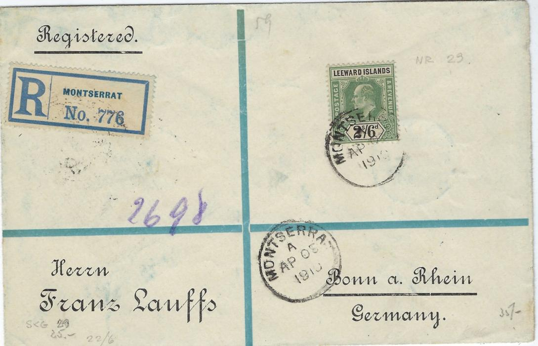 Montserrat (Leeward Islands) 1910 registered cover to Germany franked 1902 Wmk Crown CA 2s/6d. green and black tied index A cds, London transit and aBonn arrival backstamps.