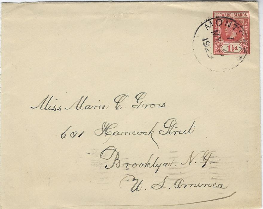 Montserrat (Leeward Islands) 1929 1 �d. stationery envelope correctly used to Brooklyn, N.Y., United States; fine and clean example of a surprisingly scarce item.