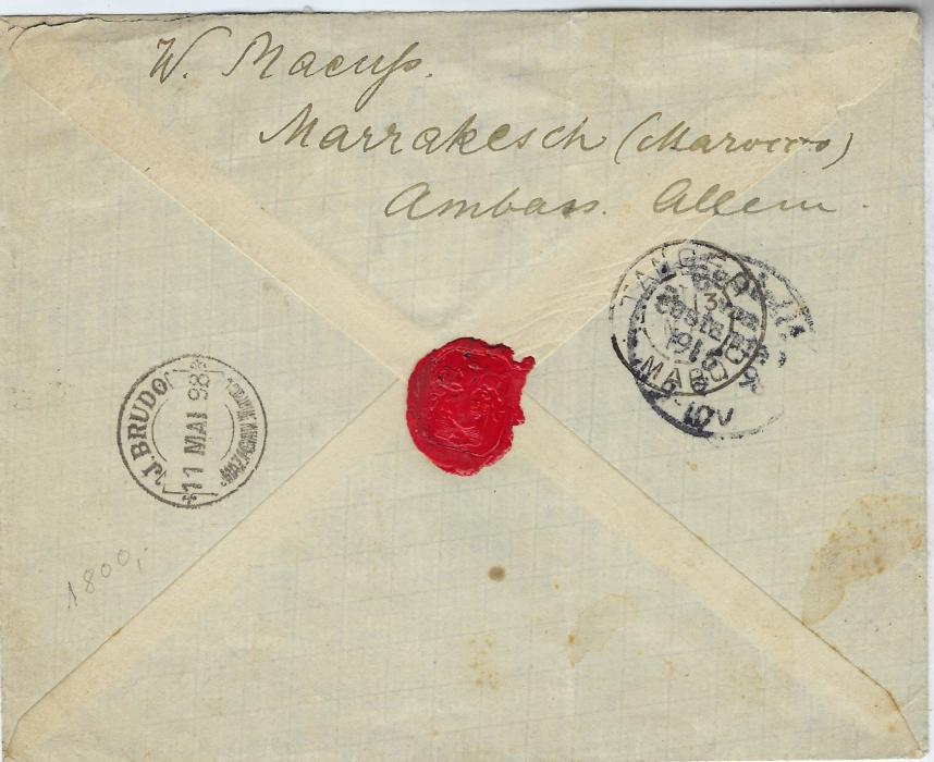 Morocco (Local Post) 1898 cover to Berlin bearing French Post Office 25c on 25c. (for overseas postage) and Mazagan to Marakech 10c. cancelled J. Brudo Marakech date stamp, the French Offices stamp cancelled Mazagan on 11 Mai, further Local Post cds on reverse, Tanger transit and Berlin arrival. Some trivial toning not detracting from mixed franking cover from German Ambassador, shortly before the  German Post Office.