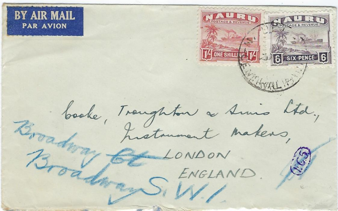Nauru Unclearly dated airmail cover to London franked Rough Surfaced 6d. and 1/- �Freighter� tied Nauru Central Pacific date stamp; a little roughly opened at base.