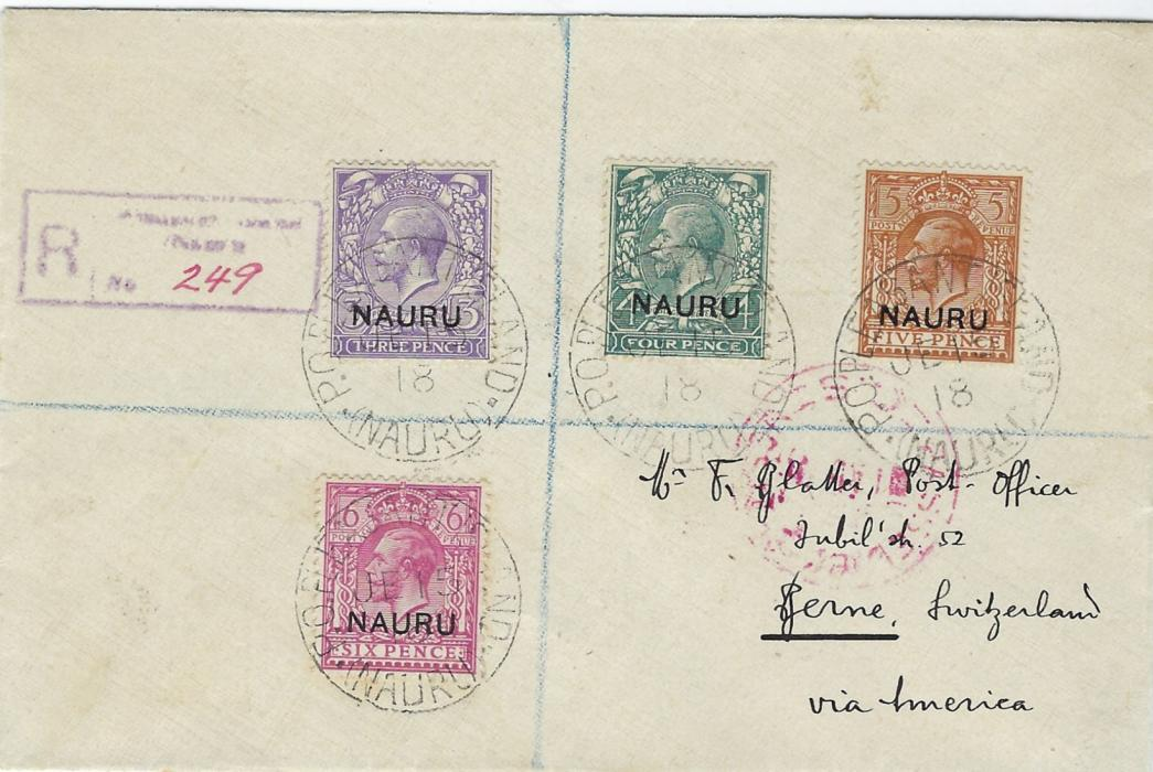 Nauru 1918 (JE 15) registered censored cover to Switzerland franked Great Britain overprinted 3d., 4d., 5d. and 6d. tied Pleasant Island cds, reverse with Bern arrival of 12.X.
