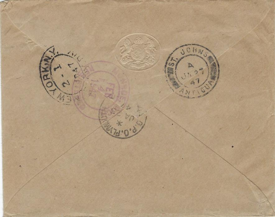 Montserrat 1947 (JA 25) registered airmail cover to United States franked 1938-48 2 �d. and 1/- pairs cancelled unclear Plymouth cds, reverse with St John�s Antigua (JA 27) and New York (Feb 1) transits and arrival of 4th.