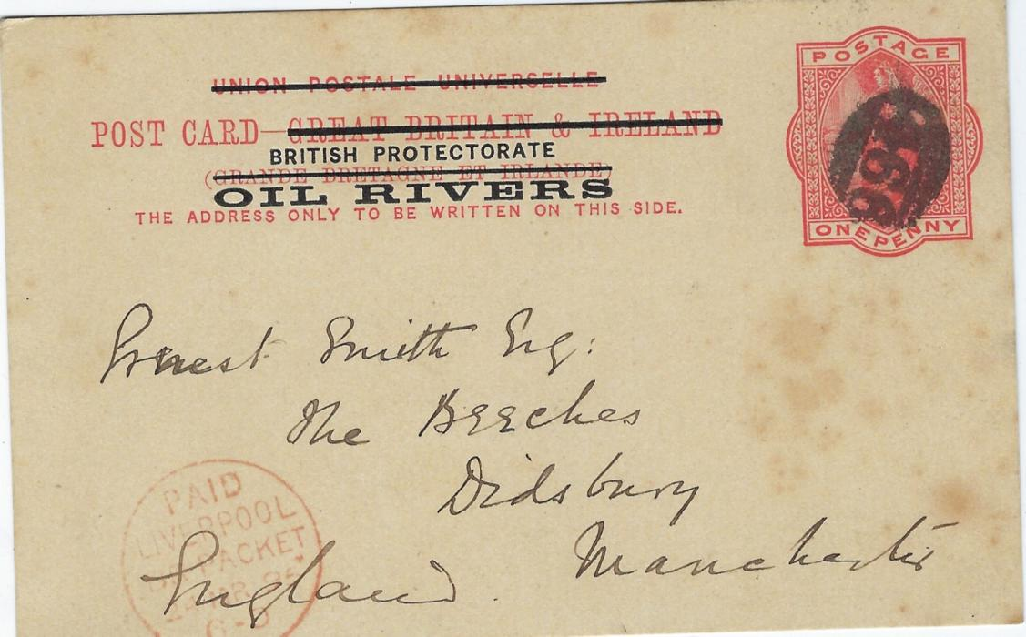 Oil Rivers 1895 1d postal stationery card to Manchester written from Warrea, uncancelled on despatch, noticed in transit at Liverpool where '466' obliterator applied, red Paid Liverpool Br Packet date stamp; some slight tone spotting.