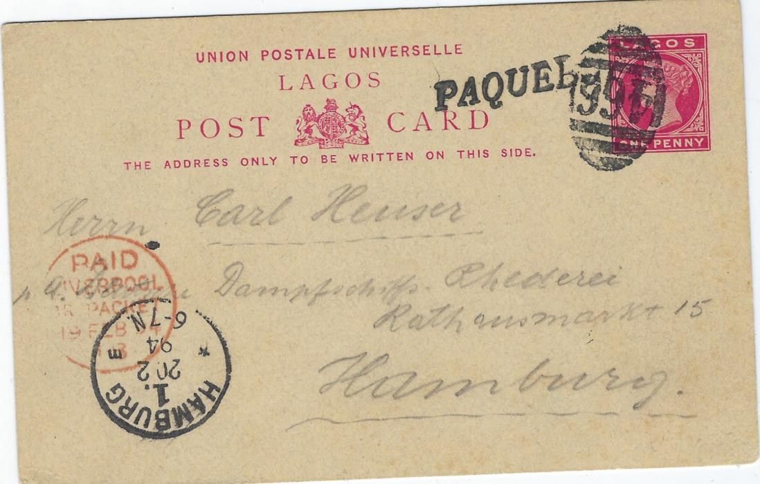 Nigeria (Lagos) 1893 '1d' on Penny Halfpenny postal stationery card addressed to Germany with a fine hand-drawn picture of the artist painting a Lion, addressed and messaged but sent under cover.