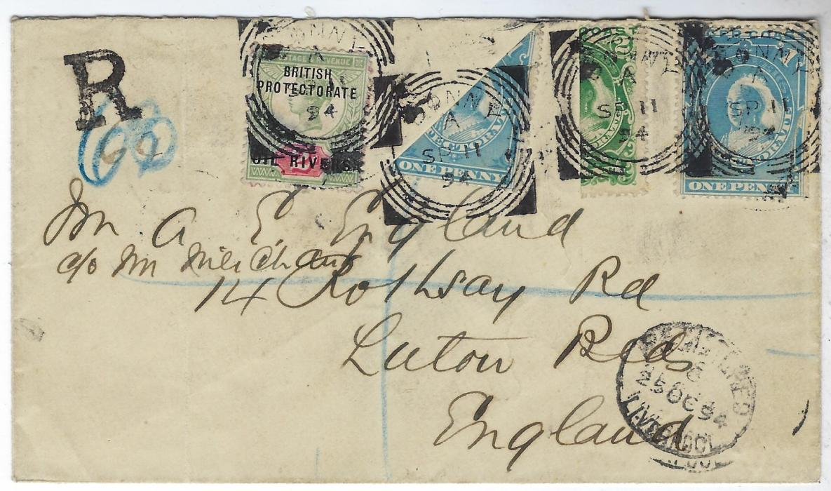 Niger Coast 1894 (SP 11) registered cover to England franked Oil Rivers 2d. Jubilee, 1894 1d. and a diagonally bisect 1d. plus 2d. vertical bisect, paying the 4 1/2d. registered rate, tied Bonny square circle date stamps, small R registration handstamp, Luton arrival backstamp; some light vertical filing creases otherwise fine and attractive.