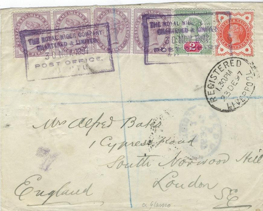Niger Coast 1897 (30 Nov) registered cover to London franked Great Britain two pairs of 1d. lilac and Jubilee ½d. and 2d. tied by two violet framed BURUTU in sans-serif capitals, oval framed Registered Liverpool below stamps and arrival backstamp; fine cover ex Glassco.