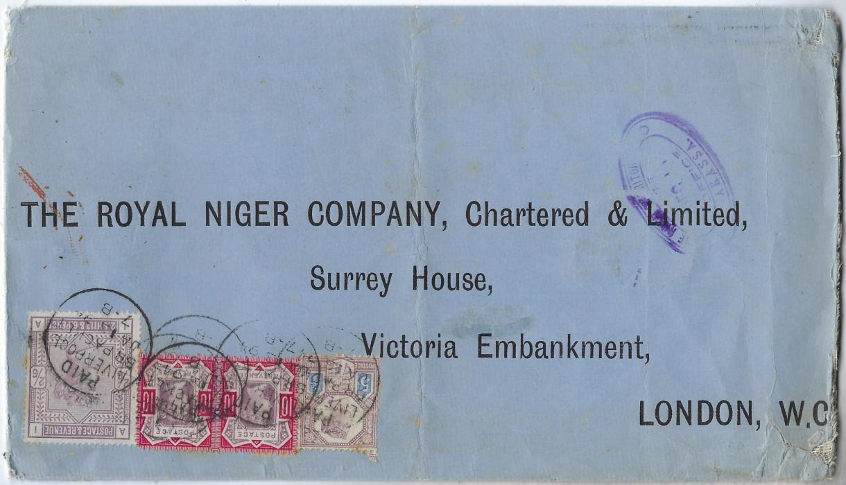 Niger Coast 1894 (Dec) Royal Niger Company printed linen-backed envelope to London showing fair strike of Akassa oval handstamp and bearing Great Britain 1883-84 2/6d. lilac, Jubilee 5d. and a 10d. pair, all placed upside down and cancelled with Paid Liverpool Br. Packet cds; the 5d. with small fault and some wear to envelope. A rare high value franking for an 11oz. Letter.