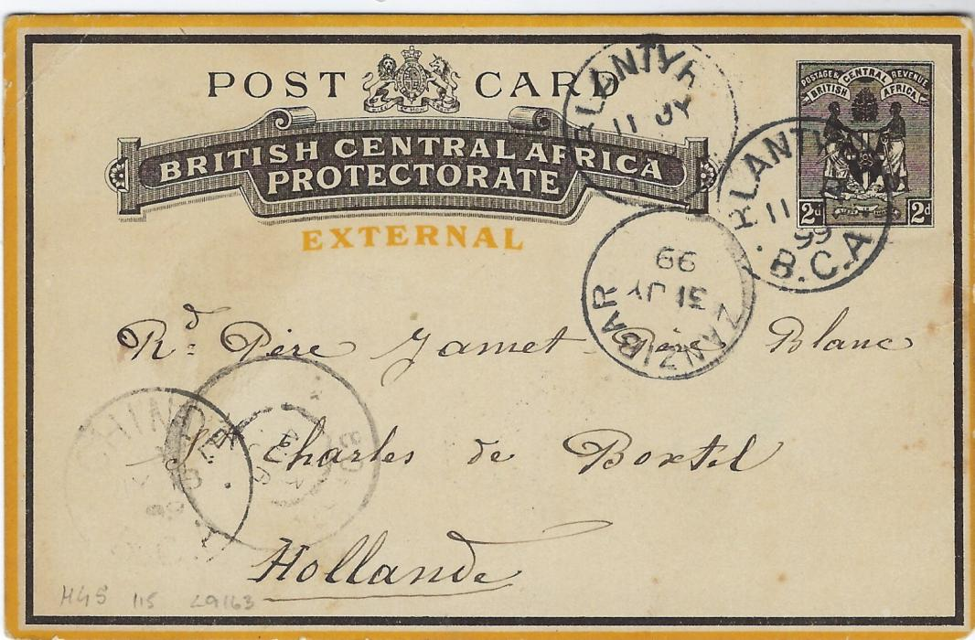 British Central Africa 1899 (11 JY) 2d. postal stationery card to Holland cancelled by Blantyre B.C.A. cds, Chinde internal transit bottom left and Zanzibar transit at right, arrival also on front, full message on reverse.