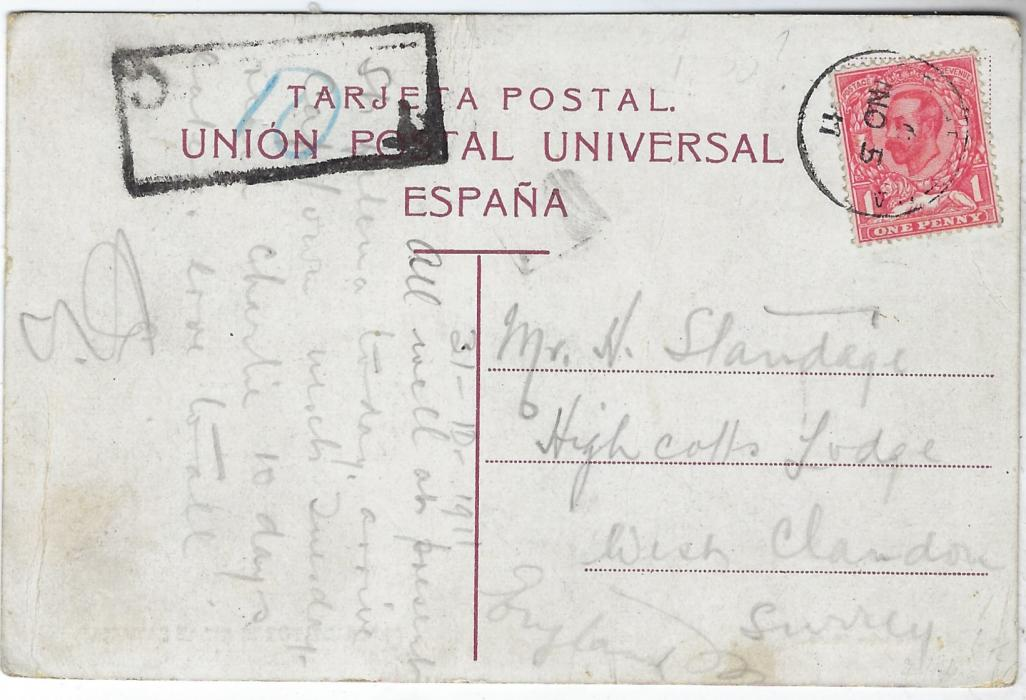 Saint Helena 1911 (NO 5) canary Islands postcard to England franked Great Britain 1d. tied St. Helena cds, unclear charge handstamp at left with blue manuscript �10�. With short message �All Well at present. St Helena today, arrive Cape Town next Tuesday...�