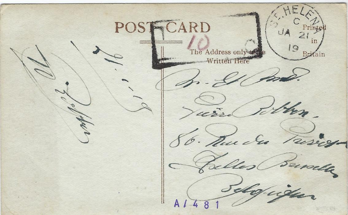 Saint Helena 1919 (JA 21) Jamestown Harbour postcard to Belgium not franked  with usual unclear charge handstamp at top with reddish manuscript �10�. Some slight creases to card.