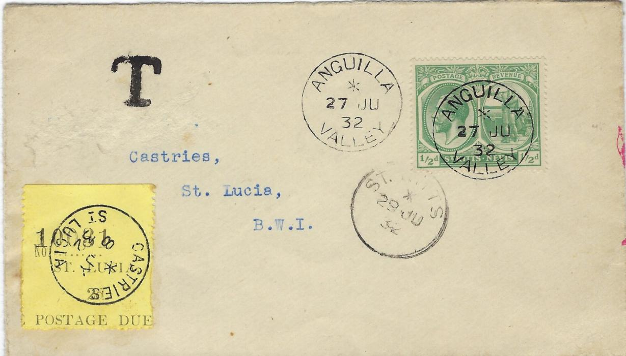 Saint Kitts-Nevis (Anguilla) 1932 (27 JU) cover to Castries, St. Lucia, underfranked with �d. �Columbus� tied very fine Anguilla Valley cds, St Kitts transit of 29 JU, black �T� handstamp at top and 2d. black/yellow Postage Due applied cancelled by Castries cds. The name of addressee excised from envelope, otherwise fine.