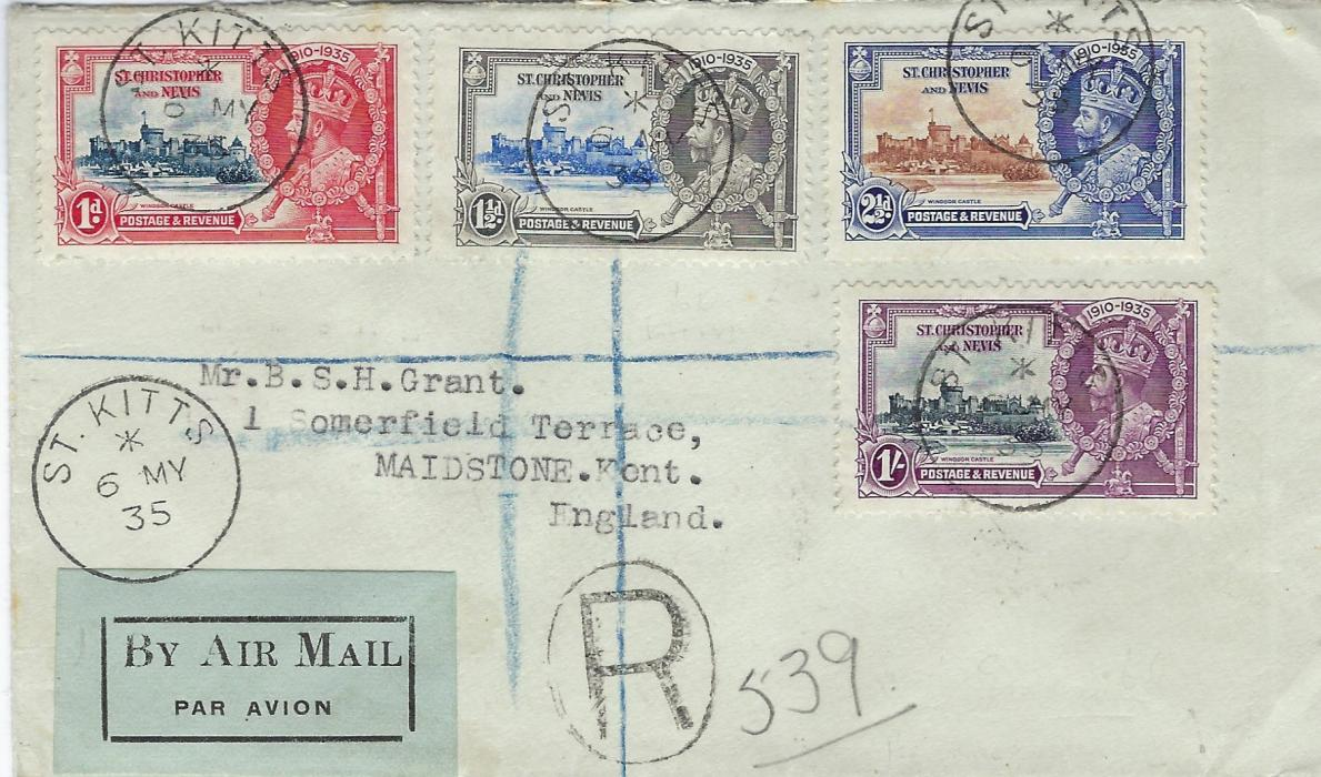 Saint Kitts-Nevis 1935 Silver Jubilee registered palin airmail first day cover, the 1 ½d. showing variety 'kite and vertical log' (SG 62k) tied St Kitts cds, to Maidstone with arrival backstamp.