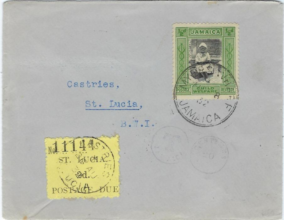 Saint Lucia 1932 incoming cover from Jamaica underfranked with � d., opera glass T handstamped applied and postage dus 2d. applied and cancelled Castries; fine condition.