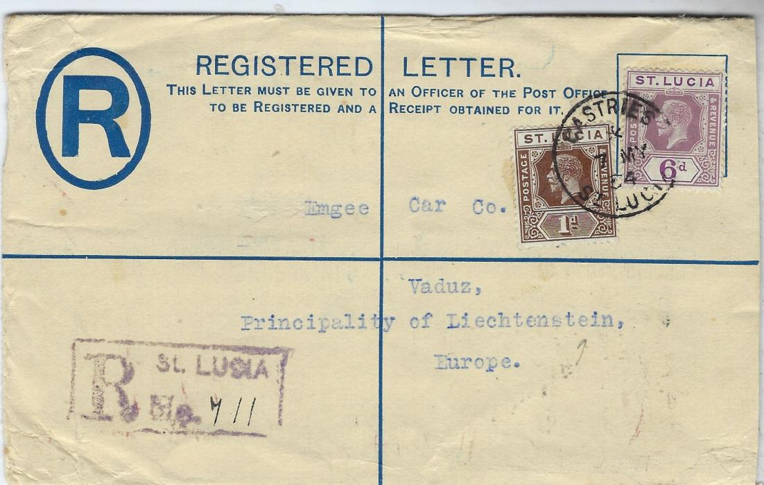 Saint Lucia 1934 3d. registration stationery envelope to Vaduz, Liechtenstein additionally franked 1d. and 6d. tied Castries cds, a largely unclear arrival backstamp with UZ of Vaduz legible. Fine destination.