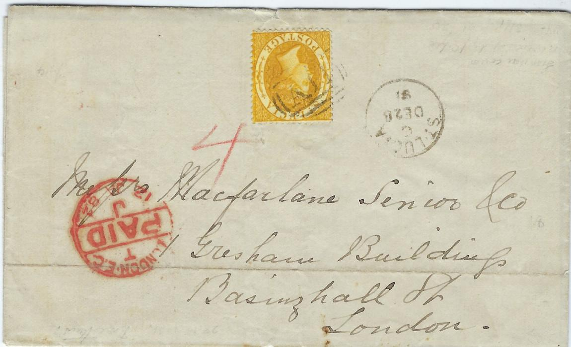 Saint Lucia 1891 outer letter sheet to London bearing single franking perf 14 4d yellow tied �A11� obliterator with cds in association to right, London Paid arrival at left; light horizontal filing crease, fine.