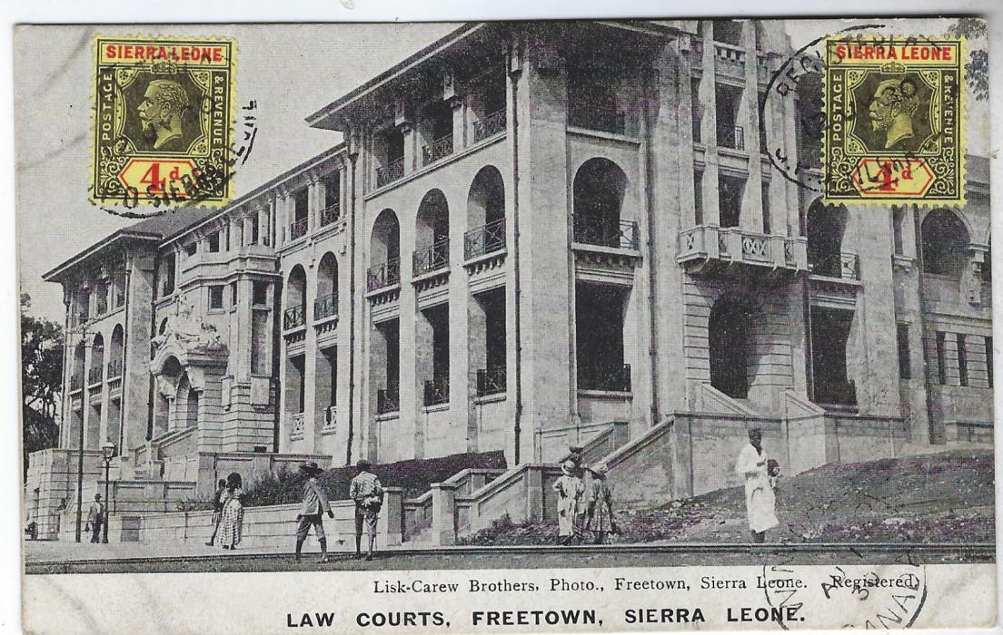 Sierra Leone 1930 registered picture postcard of 'Law Courts, Freetown' to Edmonton, Canada franked two 4d. on front tied oval registered date stamps, registration handstamp on reverse together with arrival cds.