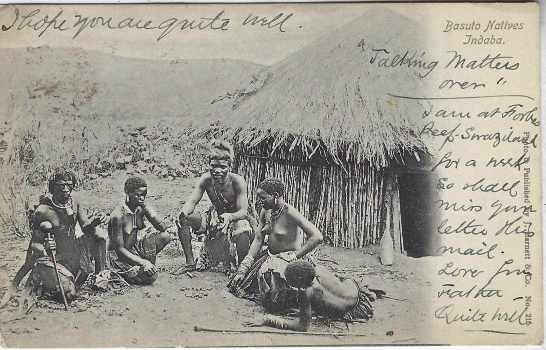 Swaziland 1911 picture postcard �Basuto Natives Indaba� with short message �I am at Forbes reef �Swaziland for a week....�, franked Transvaal 1d. with unclear cds, Imbabame transit below  and French arrival at left; good condition.