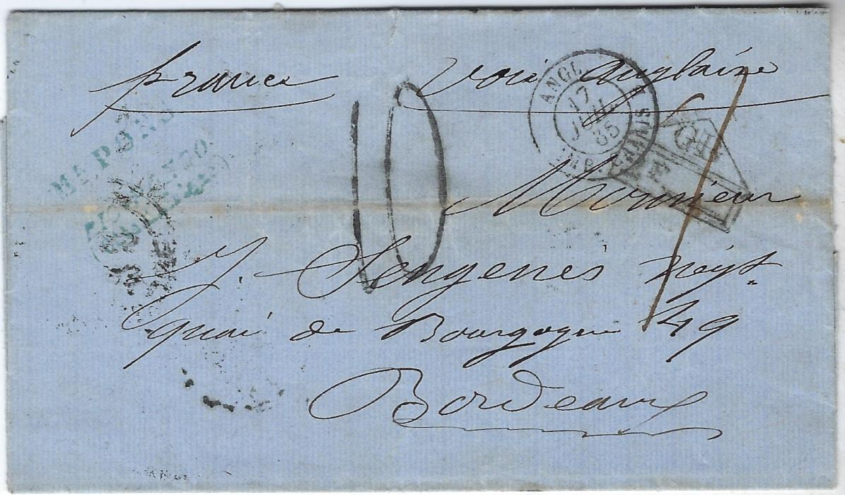 "Sierra Leone (Iles De Los – French Guinea) 1865 entire to Bordeaux endorsed ""voie anglaise"" and sent via Sierra Leone (cancel on reverse) with ""1"" manuscript for 1d. due to colony, via London where accountancy handstamp applied, French charge '10' decimes and internal cancels on reverse; horizontal filing crease. Ex Sacher."