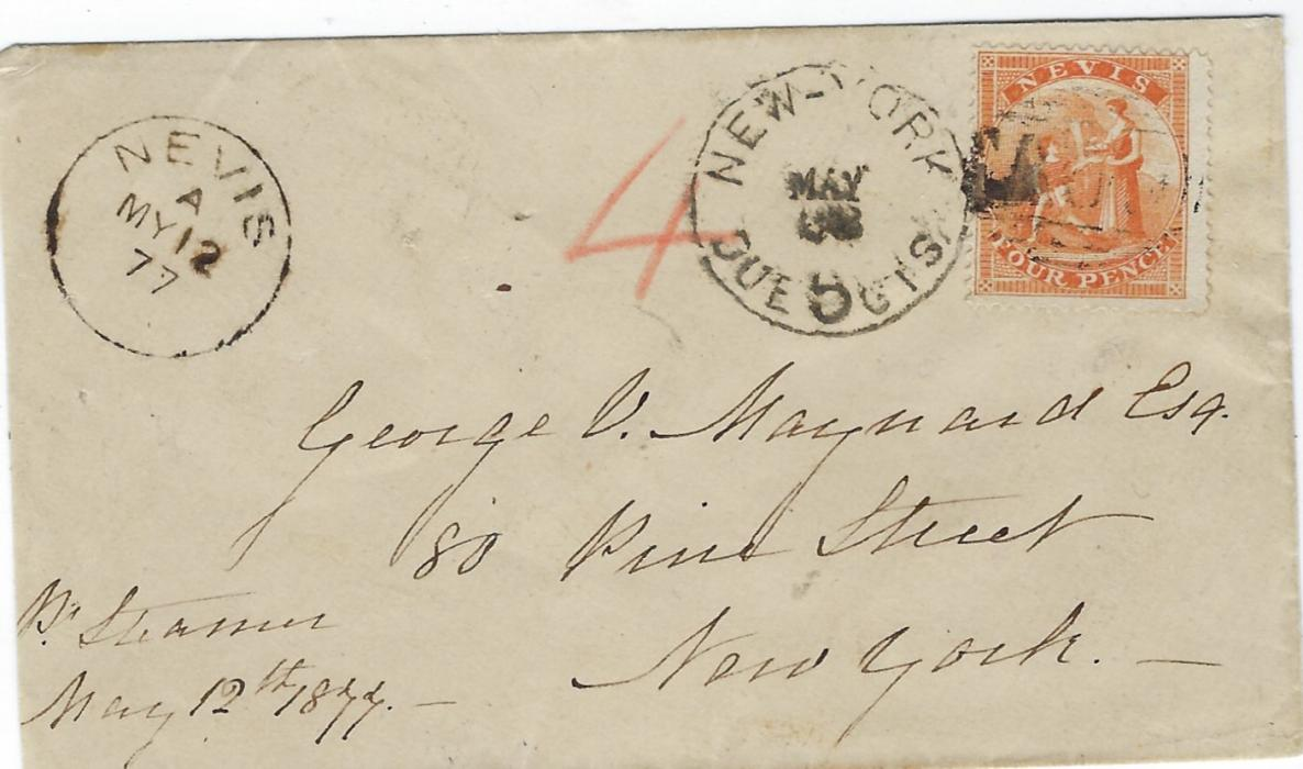 Saint Kitts-Nevis 1877 (MY 12) cover to New York franked 1867-76 4d. orange (SG 11) tied by 'A09' obliterators with Nevis cds in association at left, New York Dur 5 Cts date stamp alongside stamp, reverse with transit cds of St Thomas of MY 14; fine and attractive.