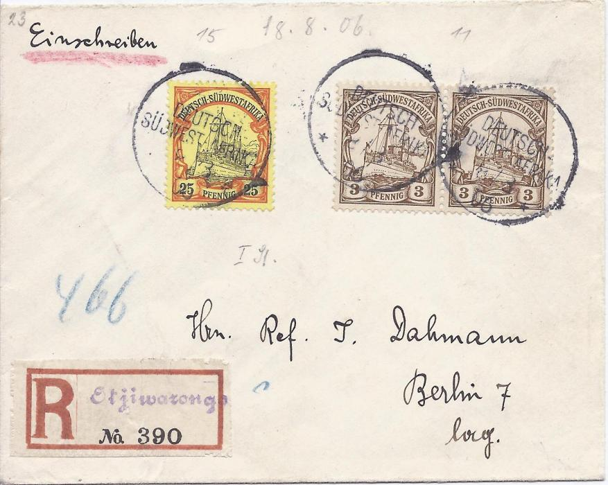 "German Colonies German South West Africa 1906 (8.8.) registered cover to Berlin franked 3pf. (2) and 25pf. tied mute cds without any indication of town, below with manuscript registration label of ""Otjiwarango"". Fine condition."