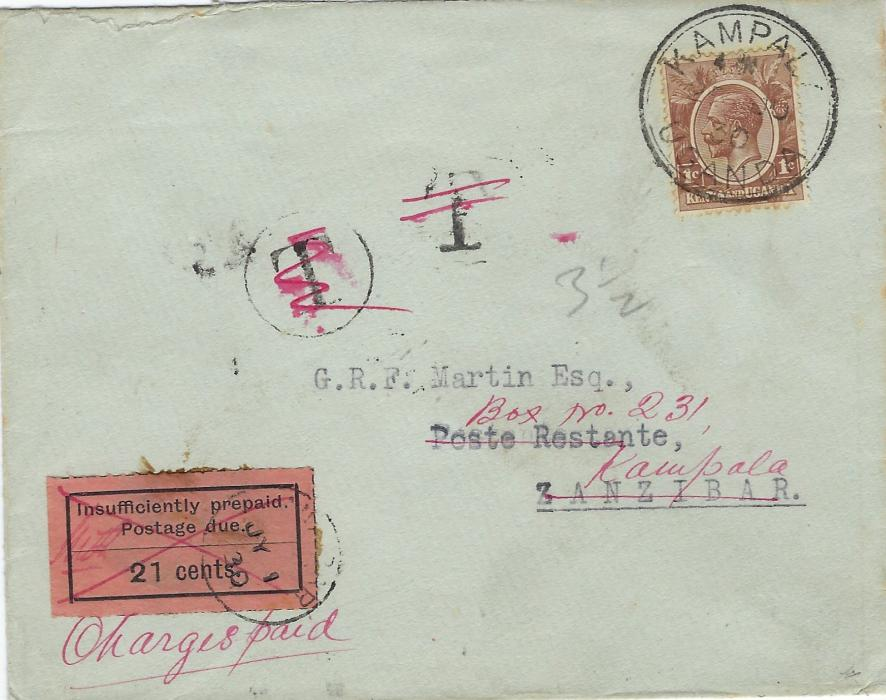 Zanzibar (Postage Due) 1930 (JY 1) incoming underpaid cover from Kampala, Uganda to Poste Restante, underfranked with 1c., T in circle and plain T tax mark alongside, deficiency of 14 Uganda cents calculated as 35 gold centimes (=21 Zanzibar cents) paid by 1926-30 21c. black/orange postage due tied cds, subsequently marked with red m/s cross and initials, and charged