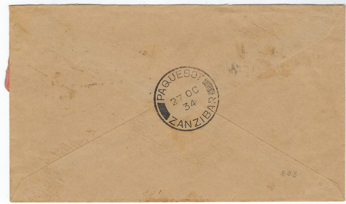 Zanzibar (Postage Due) 1934 stampless cover bearing fine Paquebot Zanzibar backstamp, 'T' in circle handstamp at top right, postage dues applied on front, 1926-30 18c. black/orange and 1930-33 2c. black/salmon x 2 and 3c. black/rose (small fault bottom left) tied by fine cds.