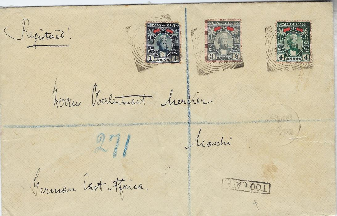 Zanzibar 1902 (14 JA) registered cover to Moschi, German East Africa franked 1a. indigo (small NE corner fault), 3a. grey and 4a myrtle-green each tied by square-circle date stamp, framed 'R' at right and at base framed 'TOO LATE', reverse with transits of Dar-Es-Salaam (15/1) and Tanga (20/1) plus arrival cds (3/2); heavy central vertical filing crease.