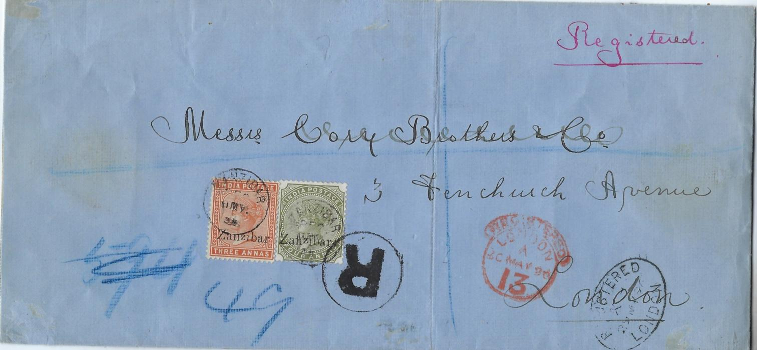 Zanzibar 1896 registered blue envelope to London franked India overprinted 1895-96 3a brown-orange and 4a. olive-green each tied by neat cds, large framed thick 'R' also tying 4a., London cancels to right, reverse with two wax seals of Mith Mackenzie & Co; vertical filing fold. The 3a. with small second 'z' and 4a. with raised small second 'z'.