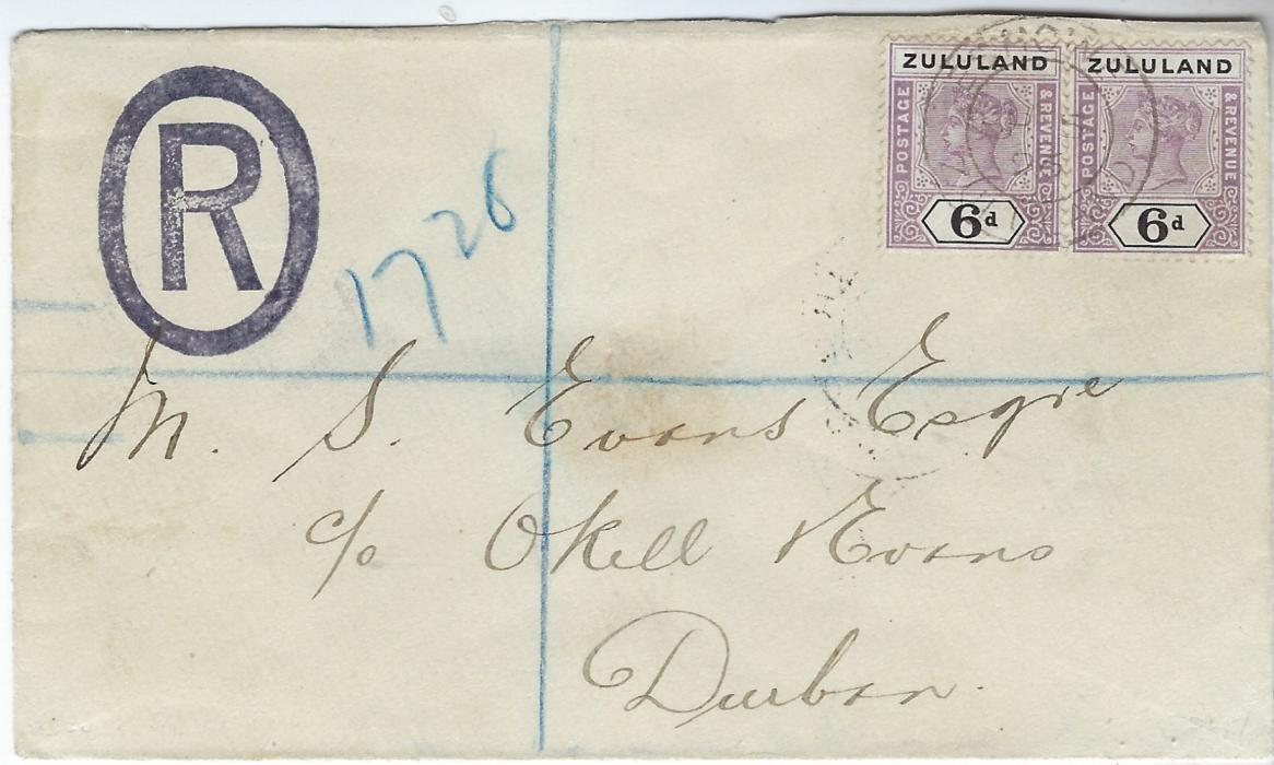 Zululand 1896 (SP 5) registered cover to Durban  franked two 6d. dull mauve and black tied by single Eshowe cds, arrival backstamp, good condition.