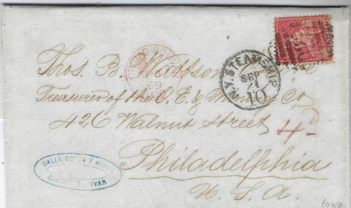 Trinidad 1869 (Sep 1) entire from Cuidad Bolivar, Venezuela to Philadelphia with fine red Cuidad Bolivar Paid cds of British Post Office, routed via Trinidad where 1d. lake (SG 69) added and tied D22 obliterator with N.Y. Steamship 10 (Sep 21) alongside. Reverse with Trinidad transit of SP 5,  St Thomas transit of SP 13 and arrival cds of Sep 21. Fine and rare, Exhibition piece. R.P.S.L Cert 2001.