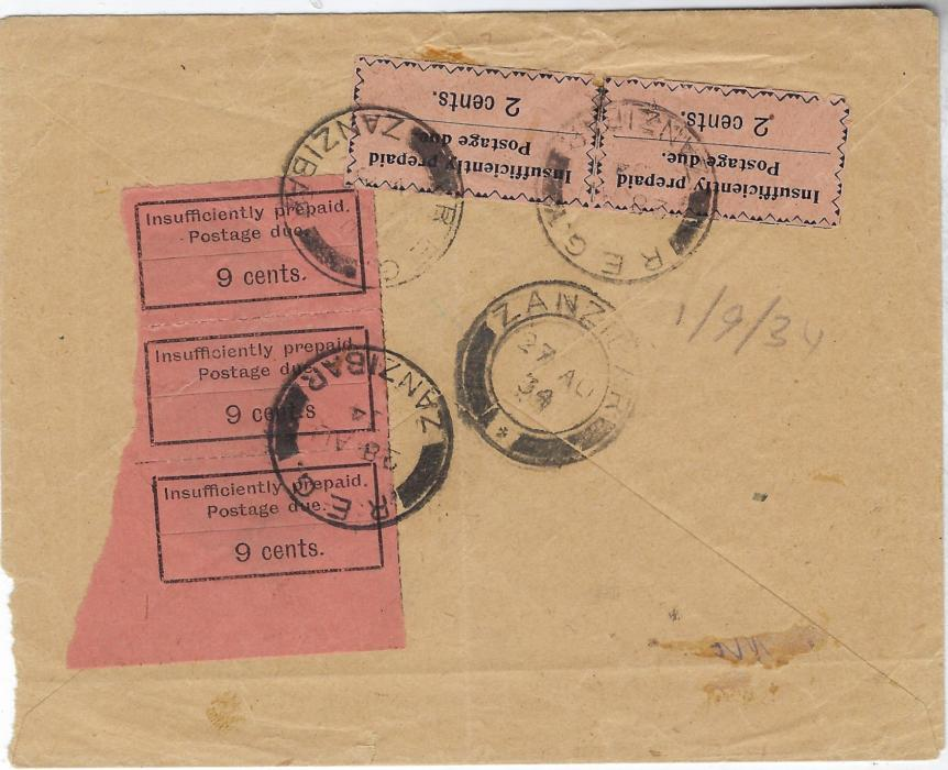 "Zanzibar (Postage Due) 1934 (23 Aug) unpaid cover from Majunga, Madagascar with despatch on front together with triangular framed 'T', manuscript ""R"" (in pencil) and ""100"" in red crayon. On reverse arrival cds with postage dues to value of 31c. (apparently rflecting a recaluculated deficinency of 50 gold centimes) applied, comprising 1926-30 9c black/orange certical strip of 3 (R3-5/1 on sheet, showing 'cent.s' error on central stamp) and 1930-33 2c. black/salmon horizontal pair (6th setting, 3rd printing, R2/1-2) tied by three strikes of Reg/ Zanzibar cds. Some creasing affecting some stamps, still a spectacular and desirable mixed issue franking, with rare commercial usage of 9c. error in a se-tenant mutiple, which is also the latest recorded date of this value. Ex Griffith-Jones."