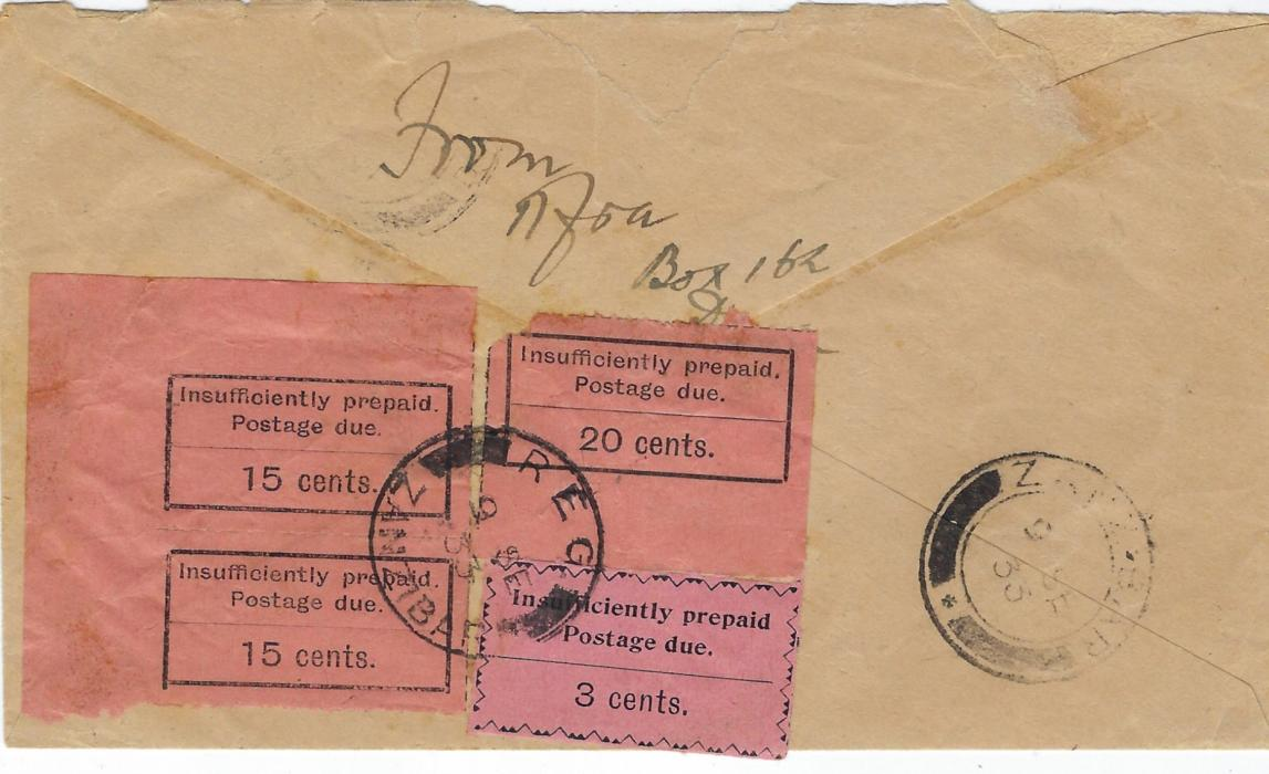 Zanzibar (Postage Due) 1933 incoming airmail cover from Dar es Salaam underfranked at 35c. single rate, with blue endorsement