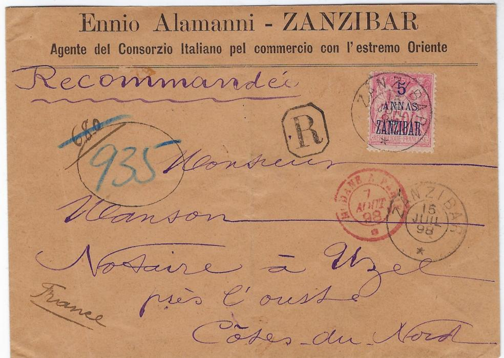 Zanzibar (French Post Office) 1898 (15 Juil) registered cover to Uzel pres L'oust, France bearing single franking 5 annas on 50c. rose tied double-ring cds with another strike below, framed 'R' handstamp, Modane A Paris tpo. Reverse with Aden transit and arrival cds. Light vertical filing crease.