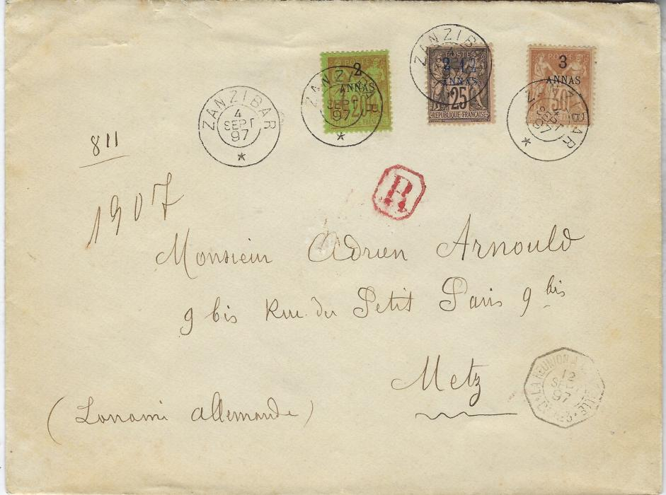 Zanzibar (French Post Office) 1897 (4 Sept) registered, slightly larger cover to Metz franked at 7½a. double rate with registration with 2a. on 20c., 2 ½a. on 25c. and 3a. on 30c. tied double ring cds, red framed 'R' handstamp, La Reunion A Marseille LV. No.3 octagonal maritime cancel, Metz arrival backstamp. The backflap is missing but still desirable as the latest recorded use of the red 'R'.