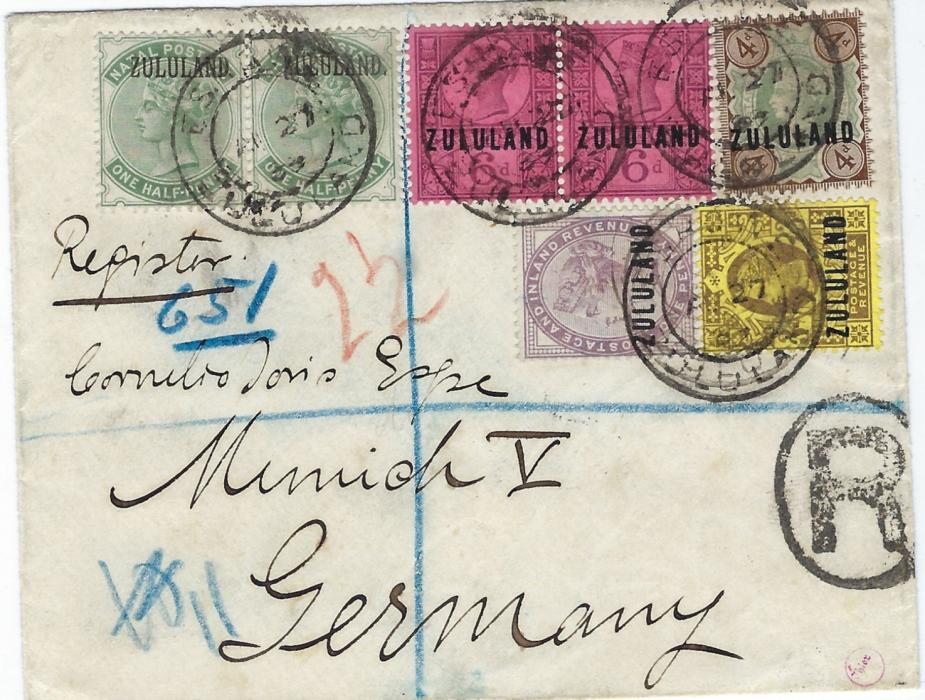 Zululand 1889 registered cover to Munich bearing Great Britain overprinted 1d., 3d., 4d. and 6d. pair together with Natal overprinted �d. (with stop after Zululand, SG 12) all tied by four double-ring cds, arrival backstamp. Very fine and attractive franking.