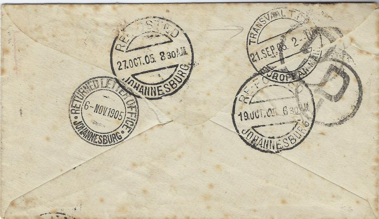 South Africa 1905 incoming cover from England to a PO Box at Johannesburg bearing 1d. KEVII tied Par.Station.R.S.O./ Cornwall cds, framed INCONNU/ UNKNOWN handstamp on front, reverse  with Transvaal T.P.O. European Mail date stamp of 21 Sep, Reposted cds of 19.OCT and 27.OCT plus RETURNED LETTER OFFICE JOHANNESBURG cds of 6 Nov; some slight tone spotting.