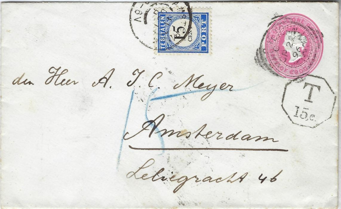 South Africa (Capeof Good Hope) 1896 1d. postal stationery envelope to Amsterdam, undefranked with hexagonal framed 'T/ 15c.' handstamp just below stamp image and a 15c postage due applied on arrival , arrival backstamp; fine and clean condition.