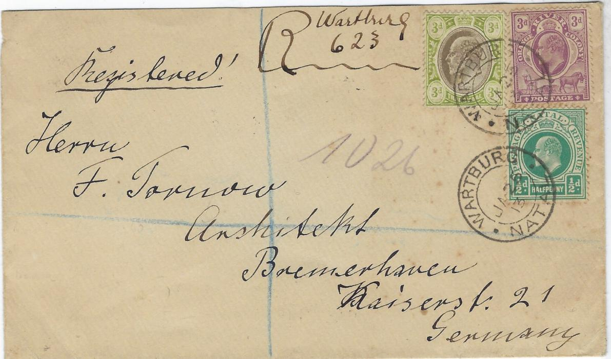 South Africa (Natal) 1913 registered cover to Germany bearing issues from three States - Natal, Orange River Colony and Transvaal – tied Wartburg cds, manuscript registration at top, reverse with London transit and Bremerhaven arrival cds.